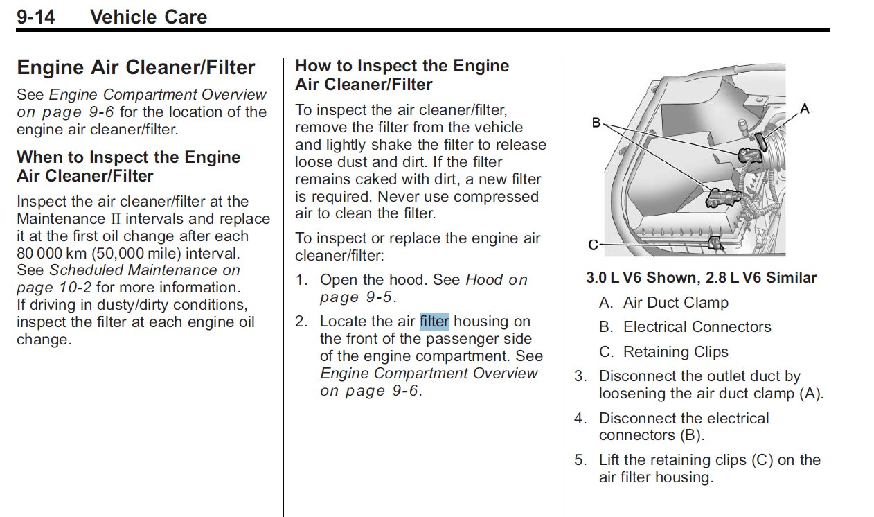 How To Change Engine Air Filter 2010 Cadillac Srx Xt5