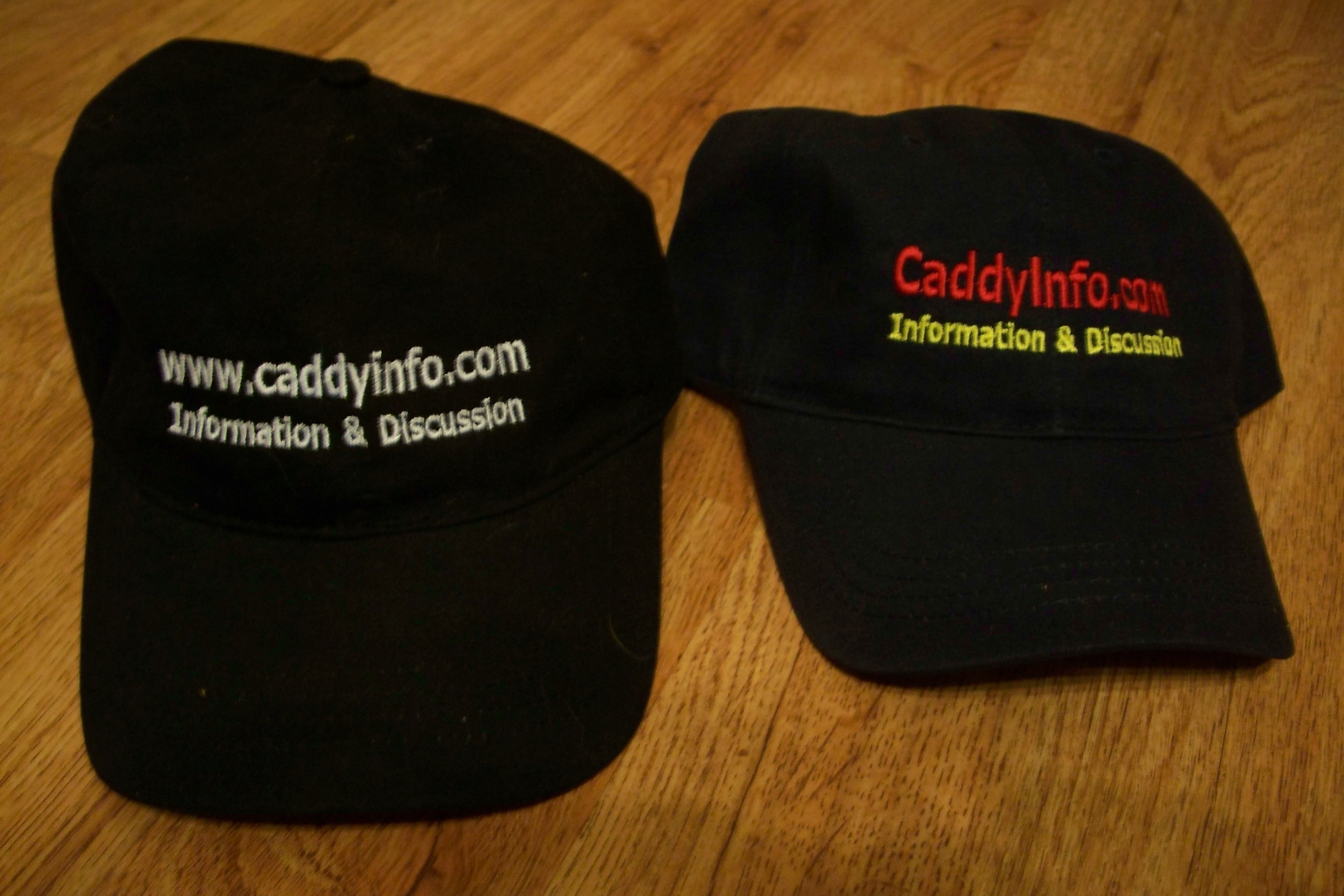 Caddyinfo Hats, Old (left) & New (right)